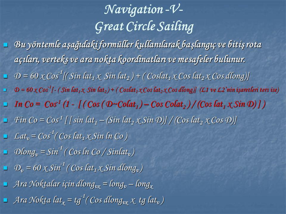 Navigation -V- Great Circle Sailing Bu yöntemle aşağıdaki formüller kullanılarak başlangıç ve bitiş rota açıları, verteks ve ara nokta koordinatları v