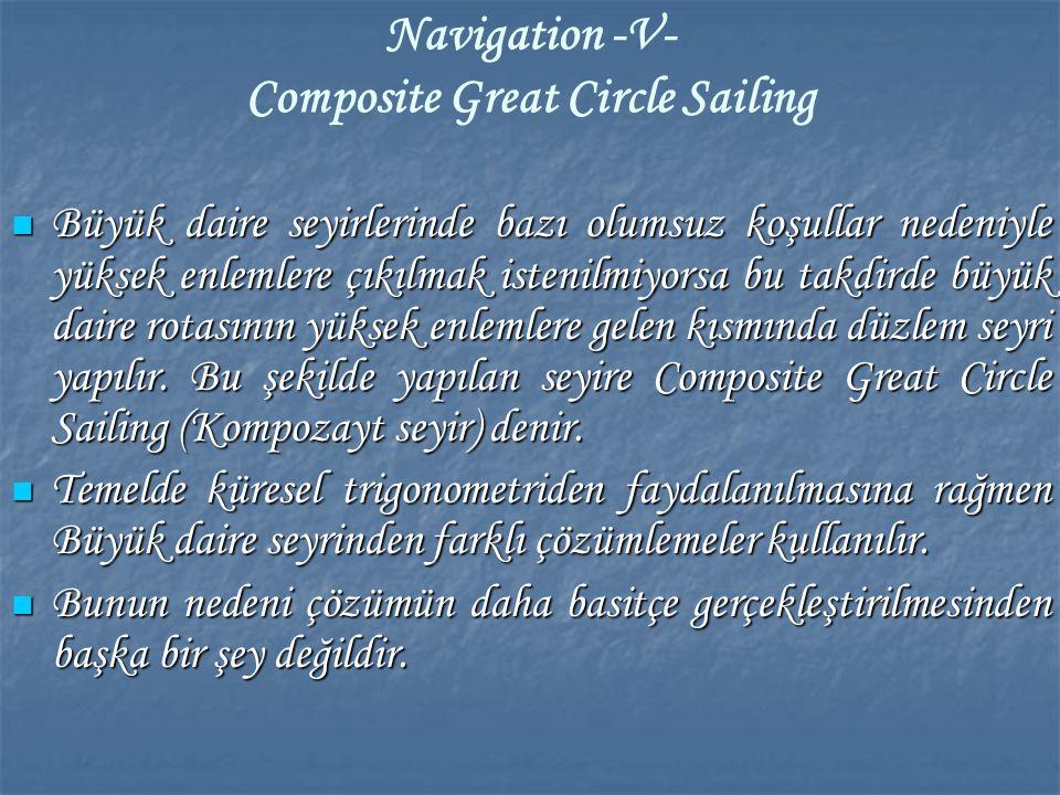 Navigation -V- Composite Great Circle Sailing Büyük daire seyirlerinde bazı olumsuz koşullar nedeniyle yüksek enlemlere çıkılmak istenilmiyorsa bu tak