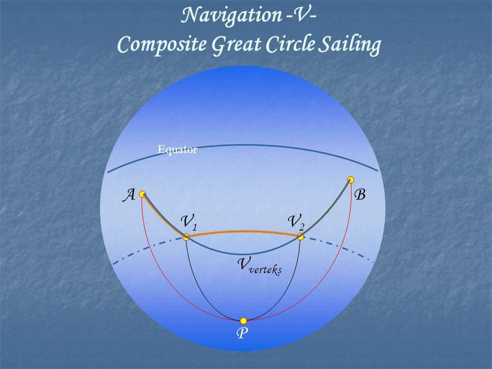 Equator P AB V1V1 V2V2 V verteks Navigation -V- Composite Great Circle Sailing
