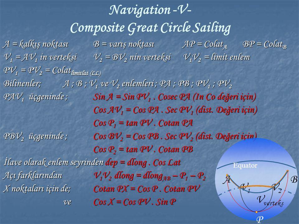 Navigation -V- Composite Great Circle Sailing A = kalkış noktasıB = varış noktası AP = Colat A BP = Colat B V 1 = AV 1 in verteksiV 2 = BV 2 nin verte