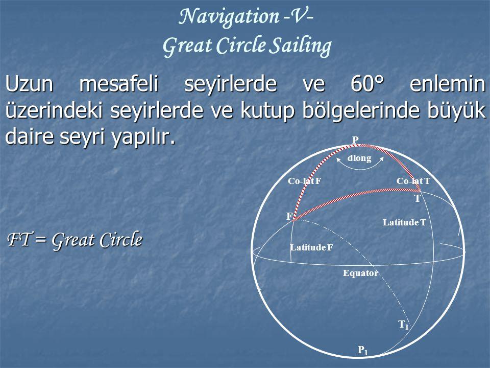 Uzun mesafeli seyirlerde ve 60° enlemin üzerindeki seyirlerde ve kutup bölgelerinde büyük daire seyri yapılır. FT = Great Circle Navigation -V- Great