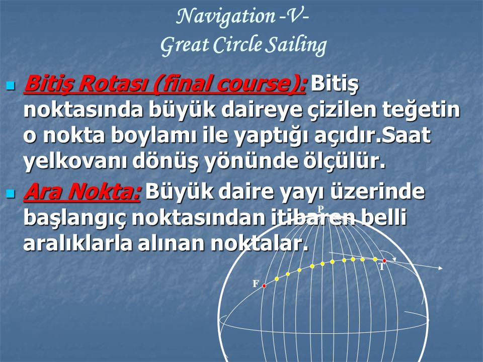 Bitiş Rotası (final course): Bitiş noktasında büyük daireye çizilen teğetin o nokta boylamı ile yaptığı açıdır.Saat yelkovanı dönüş yönünde ölçülür. B