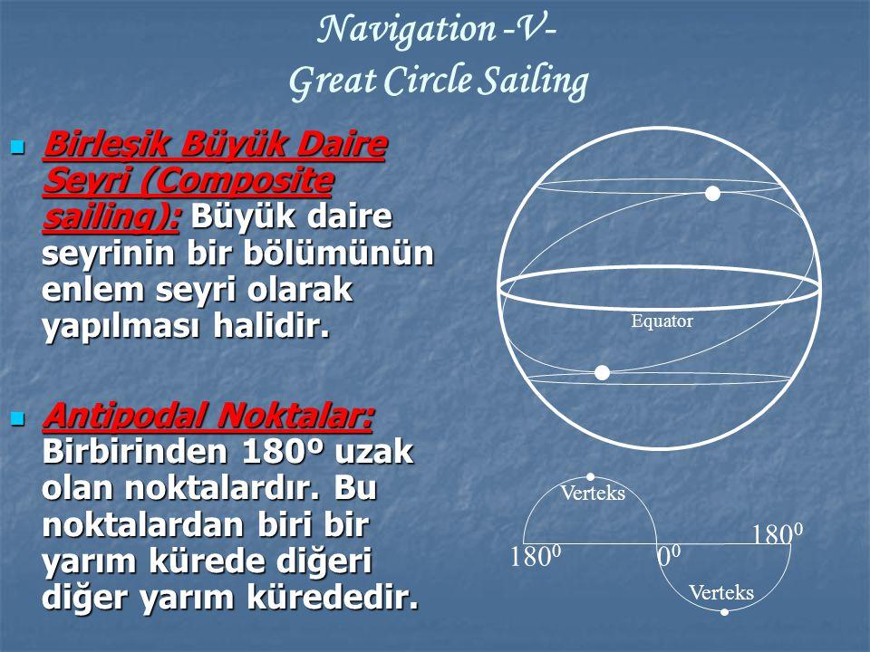 Birleşik Büyük Daire Seyri (Composite sailing): Büyük daire seyrinin bir bölümünün enlem seyri olarak yapılması halidir. Birleşik Büyük Daire Seyri (C