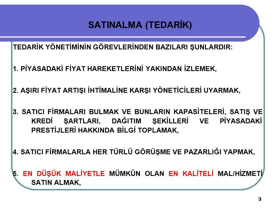 4 SATINALMA (TEDARİK) 6.ALINAN MAL/HİZMETİN ZAMANINDA İŞLETMEYE GETİRİLMESİNİ SAĞLAMAK, 7.