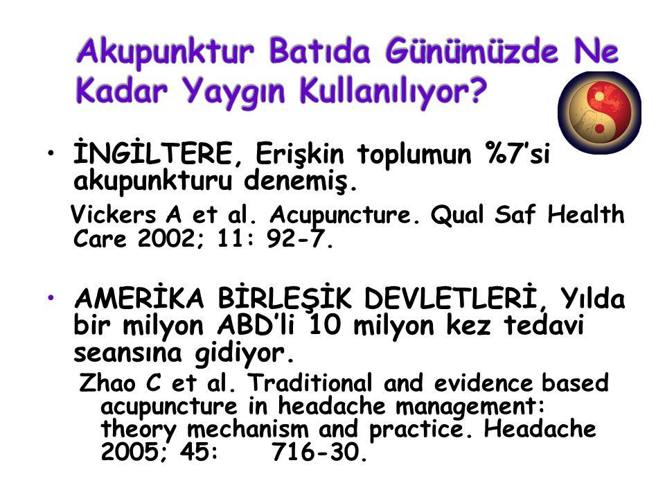 İNGİLTERE, Erişkin toplumun %7'si akupunkturu denemiş. Vickers A et al. Acupuncture. Qual Saf Health Care 2002; 11: 92-7. AMERİKA BİRLEŞİK DEVLETLERİ,