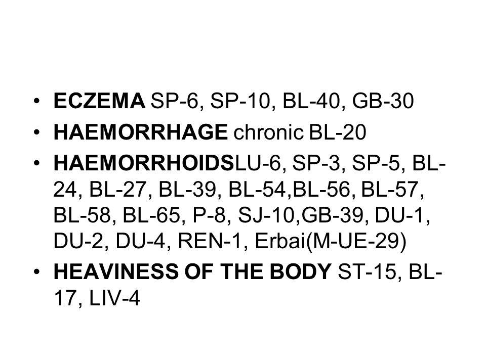 ECZEMA SP-6, SP-10, BL-40, GB-30 HAEMORRHAGE chronic BL-20 HAEMORRHOIDSLU-6, SP-3, SP-5, BL- 24, BL-27, BL-39, BL-54,BL-56, BL-57, BL-58, BL-65, P-8,