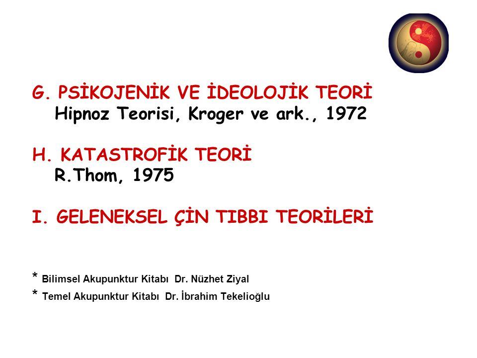 G. PSİKOJENİK VE İDEOLOJİK TEORİ Hipnoz Teorisi, Kroger ve ark., 1972 H. KATASTROFİK TEORİ R.Thom, 1975 I. GELENEKSEL ÇİN TIBBI TEORİLERİ * Bilimsel A