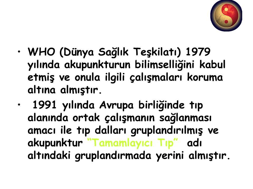 WHO (Dünya Sağlık Teşkilatı) 1979 yılında akupunkturun bilimselliğini kabul etmiş ve onula ilgili çalışmaları koruma altına almıştır. 1991 yılında Avr
