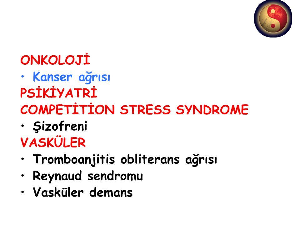 ONKOLOJİ Kanser ağrısı PSİKİYATRİ COMPETİTİON STRESS SYNDROME Şizofreni VASKÜLER Tromboanjitis obliterans ağrısı Reynaud sendromu Vasküler demans
