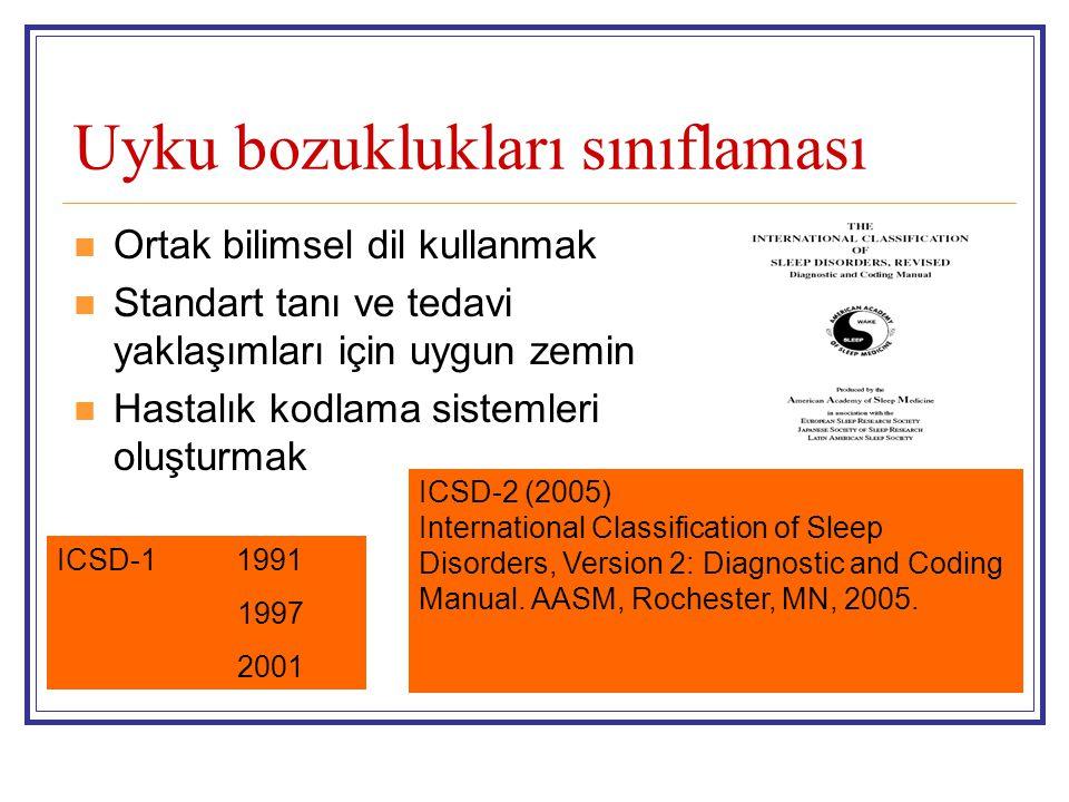 ICSD-2 I) İnsomnia II) Uyku ile ilişkili solunum bozuklukları III) Hipersomniler (Uyku ile ilişkili solunum bozukluğu dışındaki) IV) Sirkadiyen ritim bozuklukları V)Parasomniler VI)Uyku ile ilgili hareket bozuklukları VII) İzole semptomlar, normal varyasyonlar sınıflandırılamayanlar VIII) Diğer