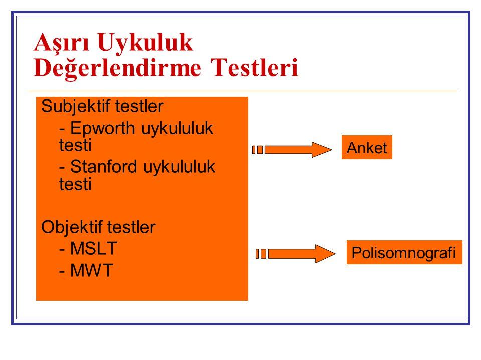 Aşırı Uykuluk Değerlendirme Testleri Subjektif testler - Epworth uykululuk testi - Stanford uykululuk testi Objektif testler - MSLT - MWT Anket Polisomnografi