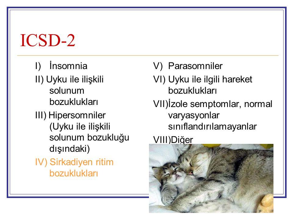 ICSD-2 I) İnsomnia II) Uyku ile ilişkili solunum bozuklukları III) Hipersomniler (Uyku ile ilişkili solunum bozukluğu dışındaki) IV) Sirkadiyen ritim
