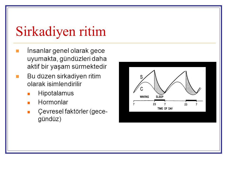 Sirkadiyen ritim İnsanlar genel olarak gece uyumakta, gündüzleri daha aktif bir yaşam sürmektedir Bu düzen sirkadiyen ritim olarak isimlendirilir Hipotalamus Hormonlar Çevresel faktörler (gece- gündüz)