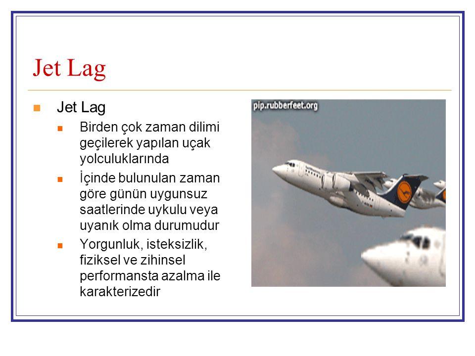 Jet Lag Birden çok zaman dilimi geçilerek yapılan uçak yolculuklarında İçinde bulunulan zaman göre günün uygunsuz saatlerinde uykulu veya uyanık olma durumudur Yorgunluk, isteksizlik, fiziksel ve zihinsel performansta azalma ile karakterizedir