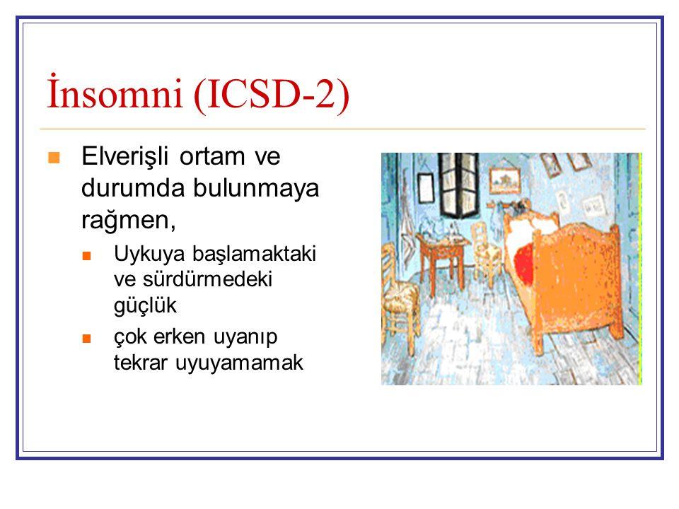 V) Parasomniler (ICSD-2) NREM bağlı olanlar Konfusiyonal Arousallar Uykuda yürüme Uyku terörü REM ilintili REM uykusu davranış bozukluğu (Parasomnia Overlap Disorder) Status Dissociatus Uyku paralizisi Kabus Diğer Disosiyatif hastalık Enüresiz Katareni Isı basması Halüsinasyon Yeme/içme İlaca bağlı Tıbbi duruma bağlı Sınıflanmamış