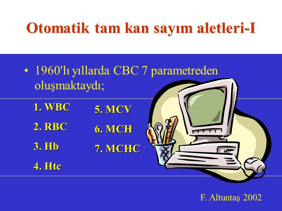 Otomatik tam kan sayım aletleri-I 1960 lı yıllarda CBC 7 parametreden oluşmaktaydı; F.