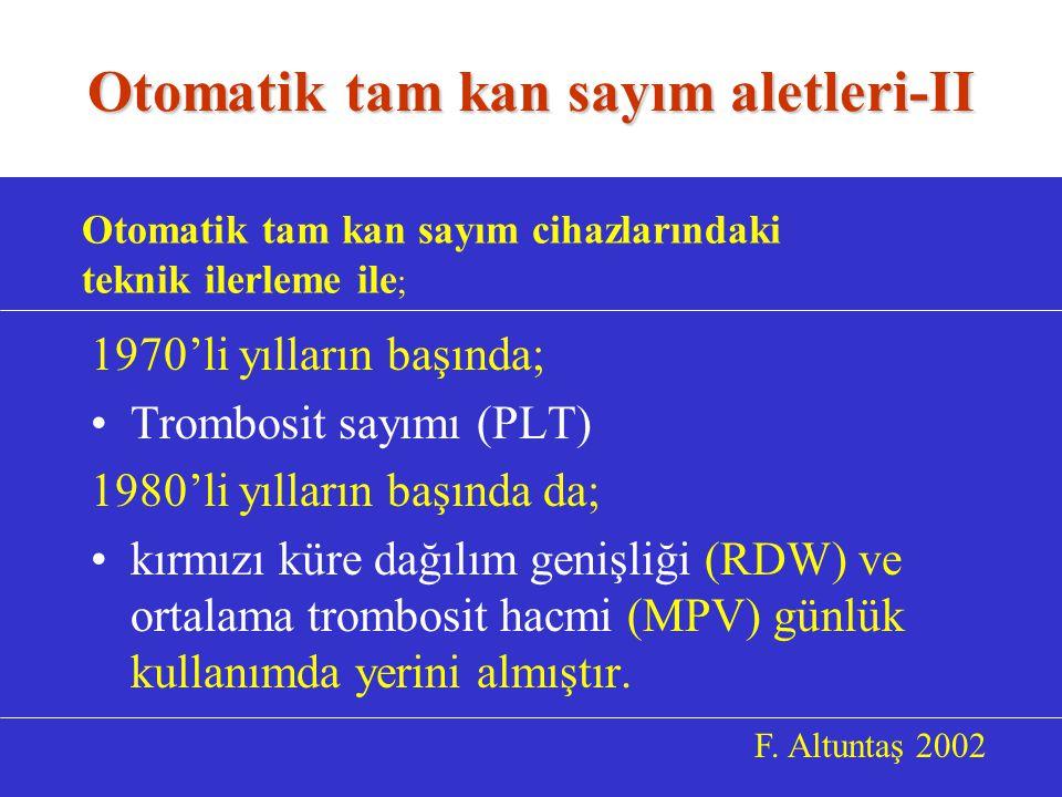 1970'li yılların başında; Trombosit sayımı (PLT) 1980'li yılların başında da; kırmızı küre dağılım genişliği (RDW) ve ortalama trombosit hacmi (MPV) günlük kullanımda yerini almıştır.