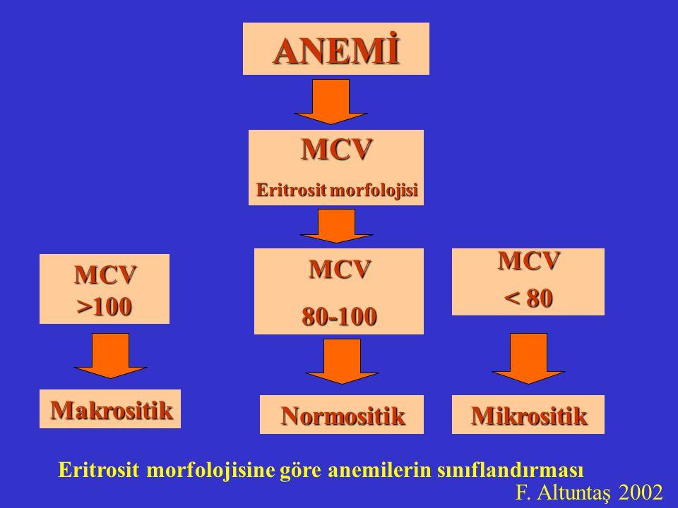 ANEMİ MCV Eritrosit morfolojisi MCV >100 MCV80-100 Makrositik MCV < 80 NormositikMikrositik Eritrosit morfolojisine göre anemilerin sınıflandırması F.