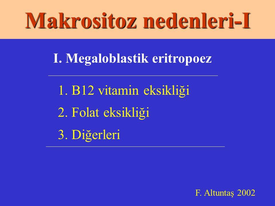 Makrositoz nedenleri-I 1.B12 vitamin eksikliği 2.