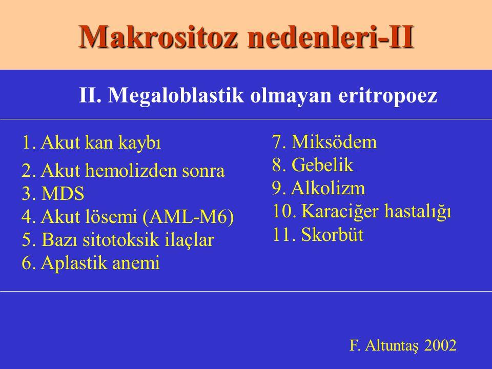Makrositoz nedenleri-II F.Altuntaş 2002 II. Megaloblastik olmayan eritropoez 1.