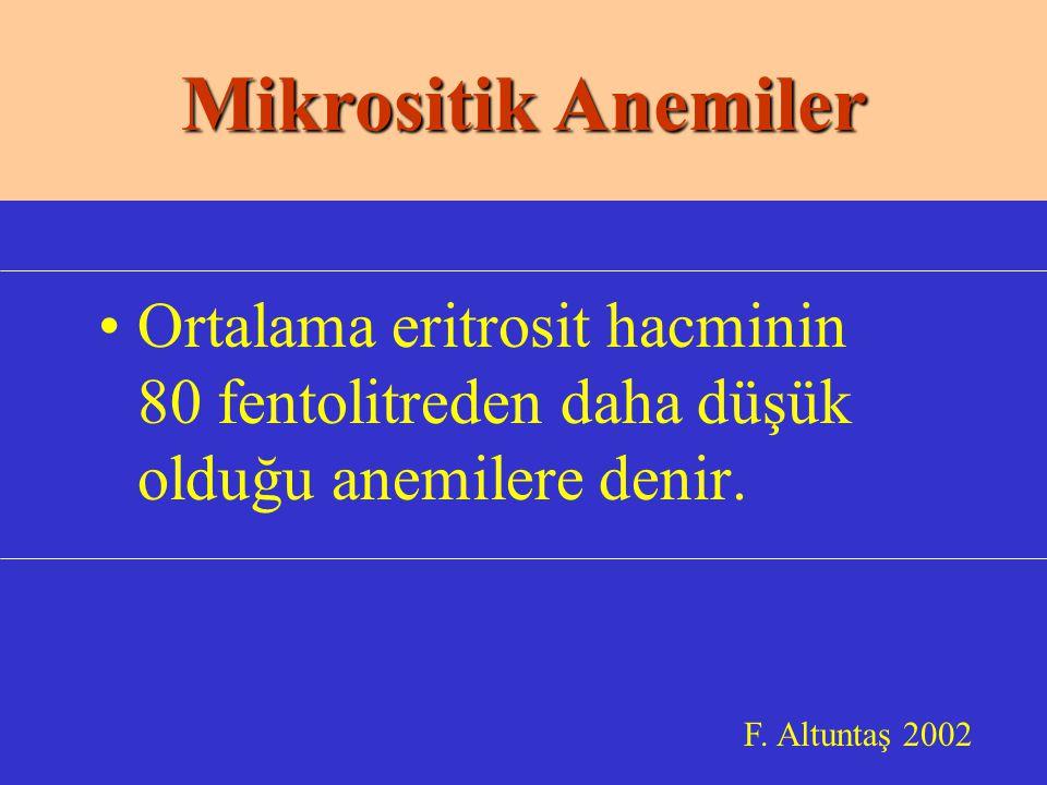 Ortalama eritrosit hacminin 80 fentolitreden daha düşük olduğu anemilere denir.