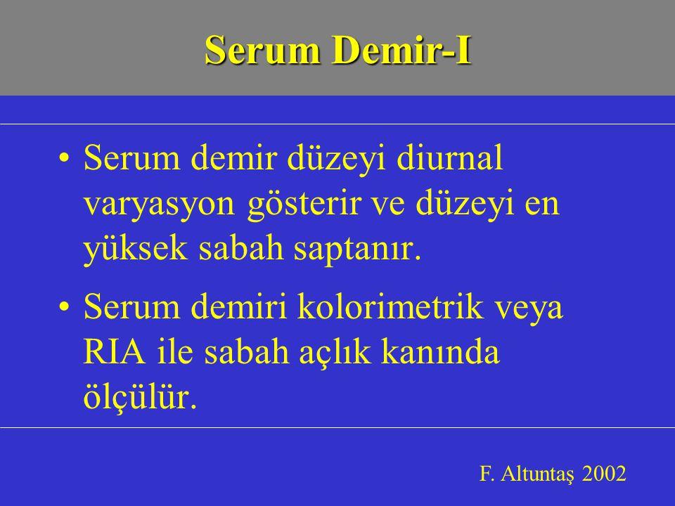 Serum demir düzeyi diurnal varyasyon gösterir ve düzeyi en yüksek sabah saptanır.