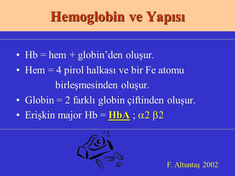 Hb = hem + globin'den oluşur.Hem = 4 pirol halkası ve bir Fe atomu birleşmesinden oluşur.