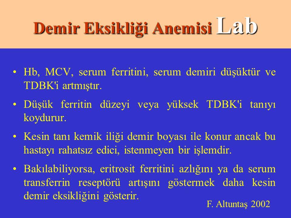 Hb, MCV, serum ferritini, serum demiri düşüktür ve TDBK i artmıştır.