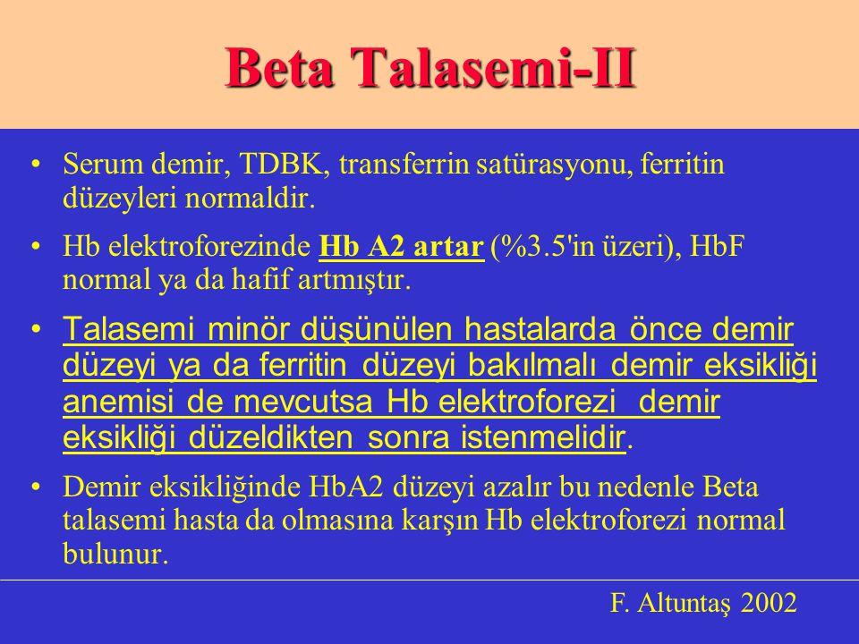 Serum demir, TDBK, transferrin satürasyonu, ferritin düzeyleri normaldir.