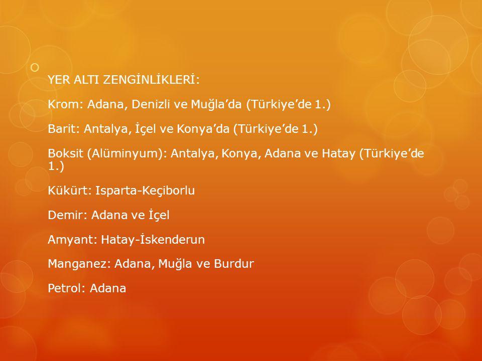  YER ALTI ZENGİNLİKLERİ: Krom: Adana, Denizli ve Muğla'da (Türkiye'de 1.) Barit: Antalya, İçel ve Konya'da (Türkiye'de 1.) Boksit (Alüminyum): Antaly