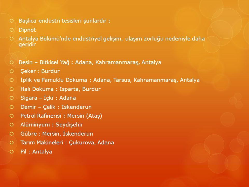  Başlıca endüstri tesisleri şunlardır :  Dipnot  Antalya Bölümü'nde endüstriyel gelişim, ulaşım zorluğu nedeniyle daha geridir  Besin – Bitkisel Yağ : Adana, Kahramanmaraş, Antalya  Şeker : Burdur  İplik ve Pamuklu Dokuma : Adana, Tarsus, Kahramanmaraş, Antalya  Halı Dokuma : Isparta, Burdur  Sigara – İçki : Adana  Demir – Çelik : İskenderun  Petrol Rafinerisi : Mersin (Ataş)  Alüminyum : Seydişehir  Gübre : Mersin, İskenderun  Tarım Makineleri : Çukurova, Adana  Pil : Antalya