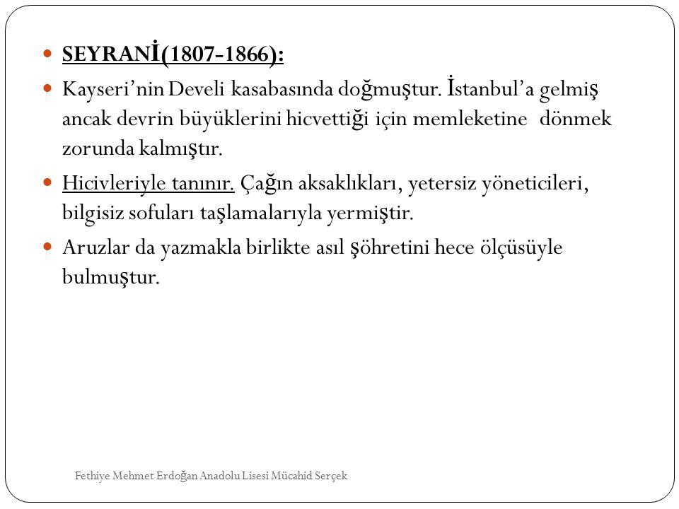 SEYRAN İ (1807-1866): Kayseri'nin Develi kasabasında do ğ mu ş tur. İ stanbul'a gelmi ş ancak devrin büyüklerini hicvetti ğ i için memleketine dönmek