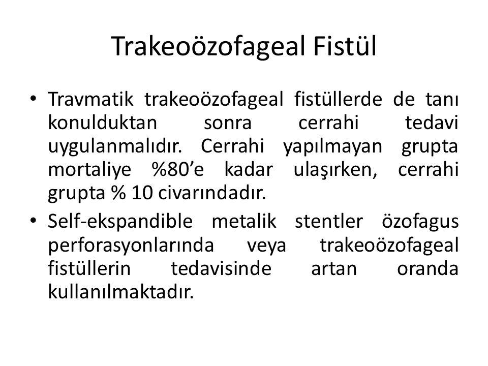 Trakeoözofageal Fistül Travmatik trakeoözofageal fistüllerde de tanı konulduktan sonra cerrahi tedavi uygulanmalıdır. Cerrahi yapılmayan grupta mortal
