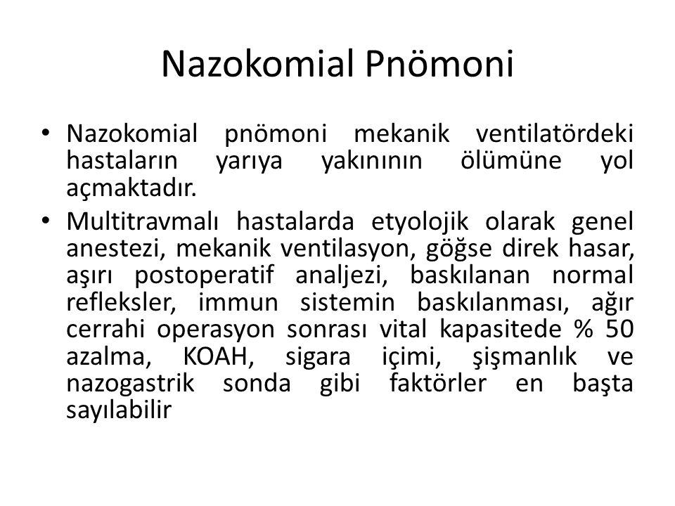 Nazokomial Pnömoni Nazokomial pnömoni mekanik ventilatördeki hastaların yarıya yakınının ölümüne yol açmaktadır. Multitravmalı hastalarda etyolojik ol