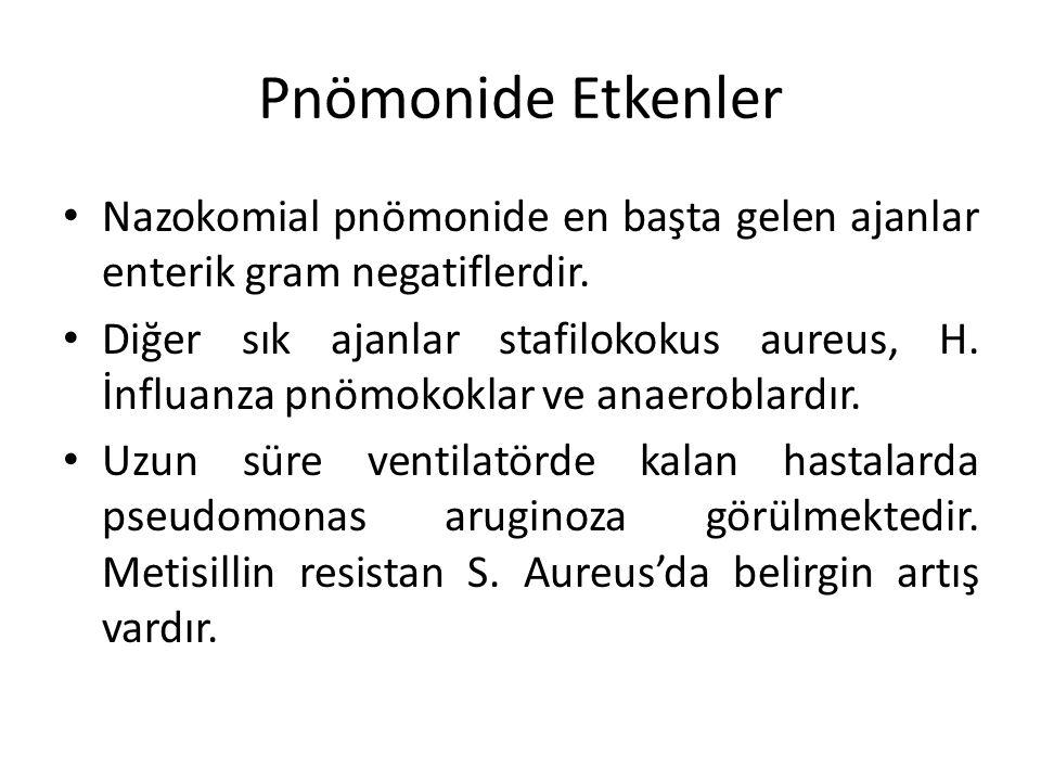 Pnömonide Etkenler Nazokomial pnömonide en başta gelen ajanlar enterik gram negatiflerdir. Diğer sık ajanlar stafilokokus aureus, H. İnfluanza pnömoko