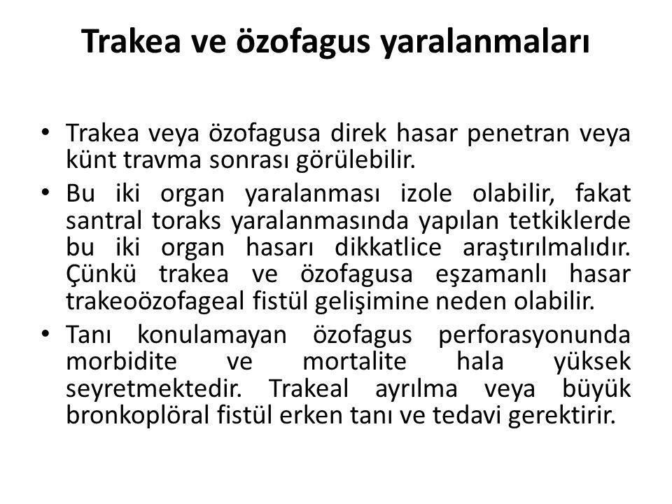 Trakea ve özofagus yaralanmaları Trakea veya özofagusa direk hasar penetran veya künt travma sonrası görülebilir. Bu iki organ yaralanması izole olabi