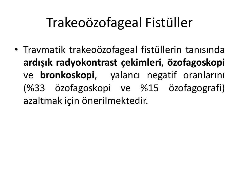 Trakeoözofageal Fistüller Travmatik trakeoözofageal fistüllerin tanısında ardışık radyokontrast çekimleri, özofagoskopi ve bronkoskopi, yalancı negati