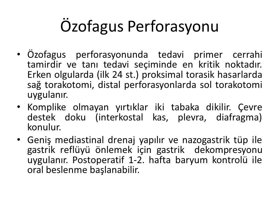 Özofagus Perforasyonu Özofagus perforasyonunda tedavi primer cerrahi tamirdir ve tanı tedavi seçiminde en kritik noktadır. Erken olgularda (ilk 24 st.