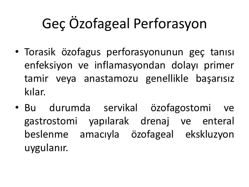 Geç Özofageal Perforasyon Torasik özofagus perforasyonunun geç tanısı enfeksiyon ve inflamasyondan dolayı primer tamir veya anastamozu genellikle başa
