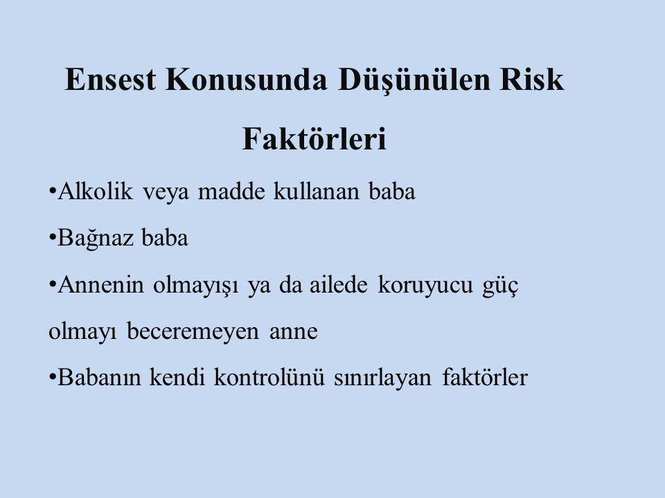 Ensest Konusunda Düşünülen Risk Faktörleri Alkolik veya madde kullanan baba Bağnaz baba Annenin olmayışı ya da ailede koruyucu güç olmayı beceremeyen