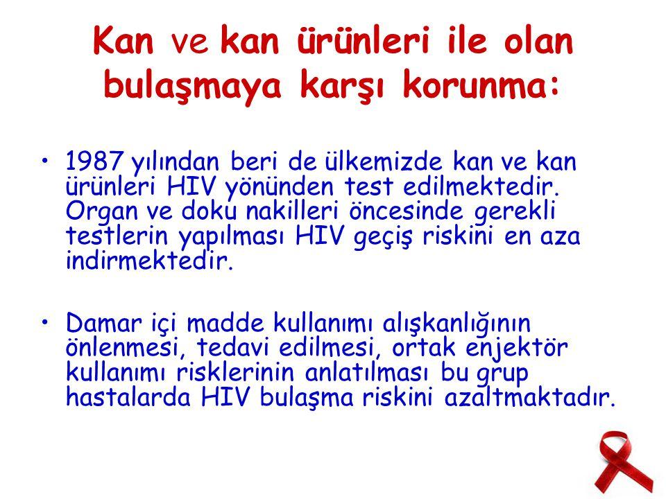 Kan ve kan ürünleri ile olan bulaşmaya karşı korunma: 1987 yılından beri de ülkemizde kan ve kan ürünleri HIV yönünden test edilmektedir.