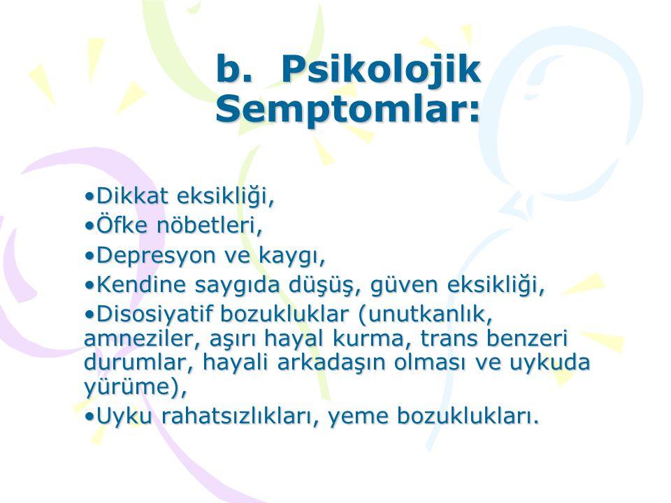 b. Psikolojik Semptomlar: Dikkat eksikliği,Dikkat eksikliği, Öfke nöbetleri,Öfke nöbetleri, Depresyon ve kaygı,Depresyon ve kaygı, Kendine saygıda düş