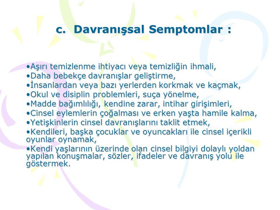 c. Davranışsal Semptomlar : Aşırı temizlenme ihtiyacı veya temizliğin ihmali,Aşırı temizlenme ihtiyacı veya temizliğin ihmali, Daha bebekçe davranışla