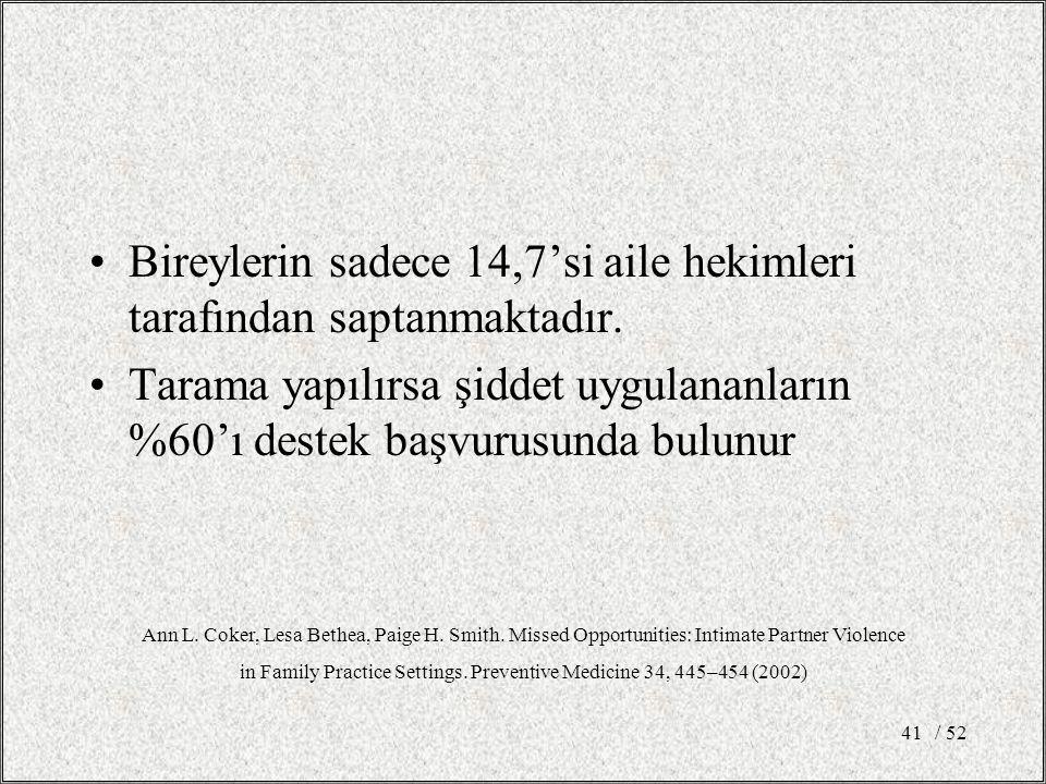 / 5241 Bireylerin sadece 14,7'si aile hekimleri tarafından saptanmaktadır.
