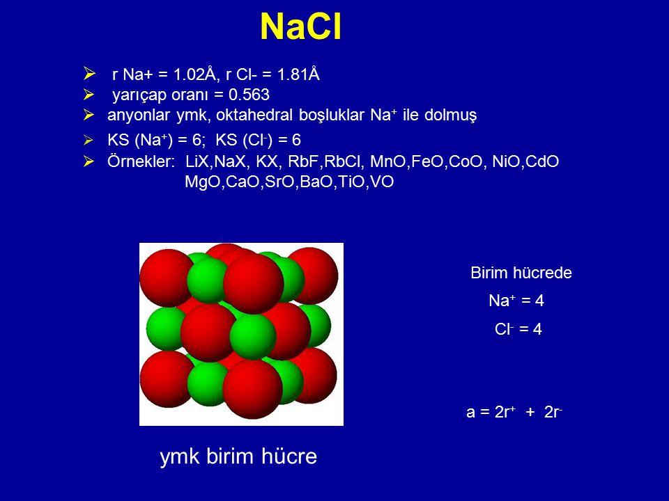 NaCl  r Na+ = 1.02Å, r Cl- = 1.81Å  yarıçap oranı = 0.563  anyonlar ymk, oktahedral boşluklar Na + ile dolmuş  KS (Na + ) = 6; KS (Cl - ) = 6  Ör