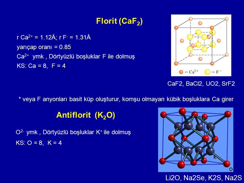 Florit (CaF 2 ) r Ca 2+ = 1.12Å; r F - = 1.31Å yarıçap oranı = 0.85 Ca 2+ ymk, Dörtyüzlü boşluklar F ile dolmuş KS: Ca = 8, F = 4 * veya F anyonları b