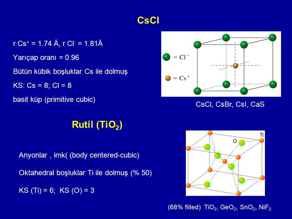CsCl r Cs + = 1.74 Å, r Cl - = 1.81Å Yarıçap oranı = 0.96 Bütün kübik boşluklar Cs ile dolmuş KS: Cs = 8; Cl = 8 basit küp (primitive cubic) CsCl, CsB