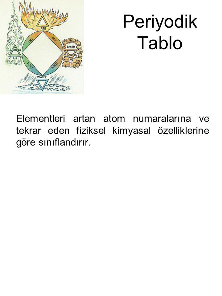 Periyodik Tablo Elementleri artan atom numaralarına ve tekrar eden fiziksel kimyasal özelliklerine göre sınıflandırır.