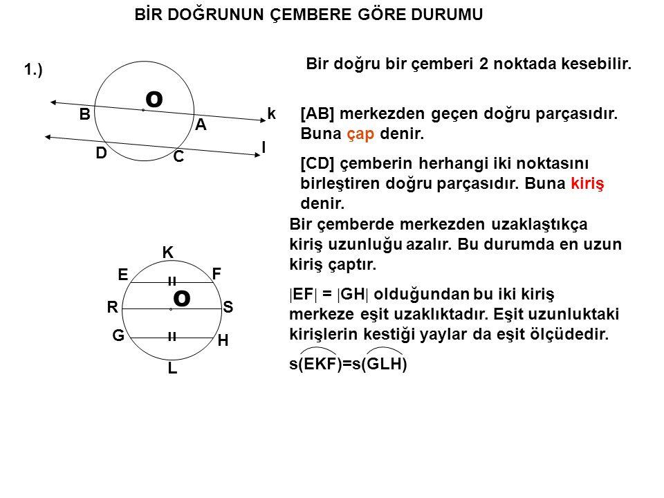 BİR DOĞRUNUN ÇEMBERE GÖRE DURUMU 1.) O k A B l C D Bir doğru bir çemberi 2 noktada kesebilir. [AB] merkezden geçen doğru parçasıdır. Buna çap denir. [