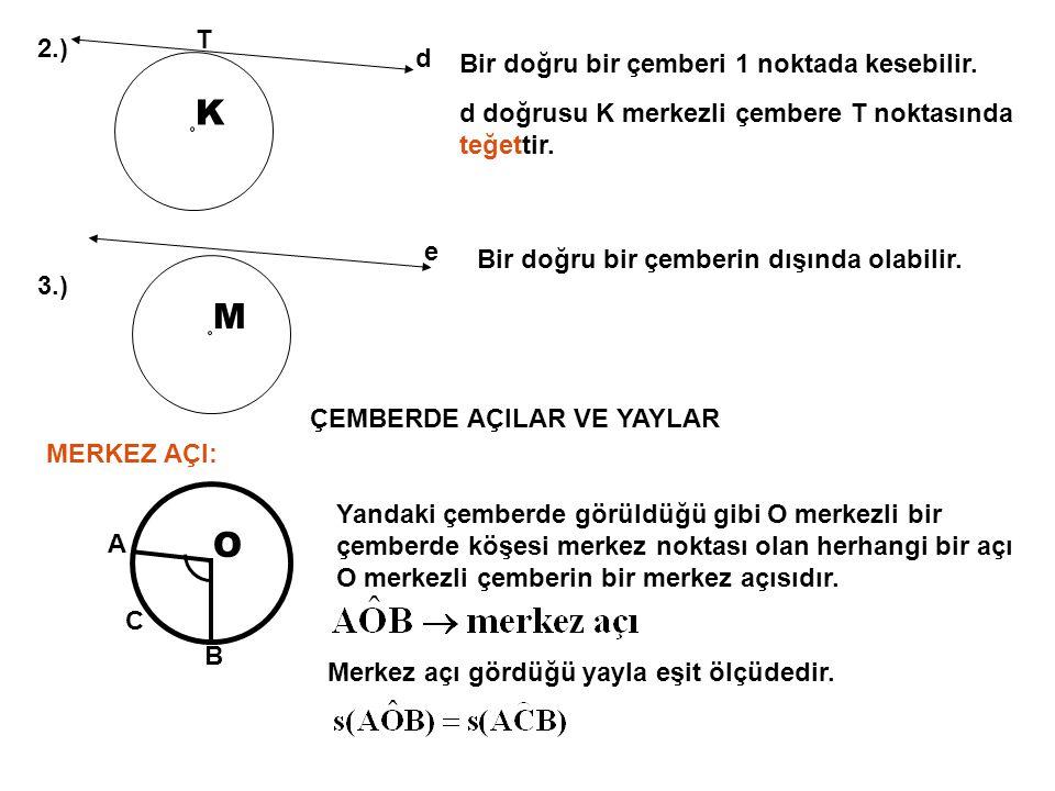 2.) K T Bir doğru bir çemberi 1 noktada kesebilir. d doğrusu K merkezli çembere T noktasında teğettir. 3.) M Bir doğru bir çemberin dışında olabilir.